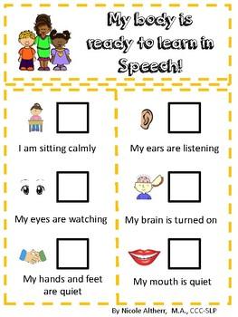 Speech Therapy Behavior Chart
