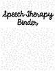 Speech Therapy Binder Covers