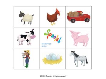 Farm Bingo: A Game on Vocabulary, Description & Actions (English Version)