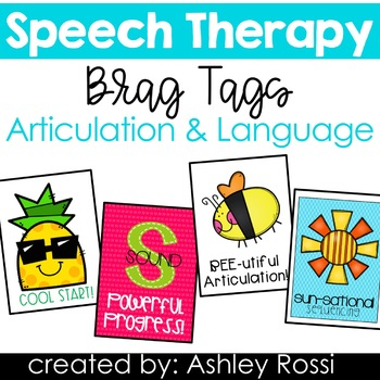Speech Therapy Brag Tags: Articulation and Language