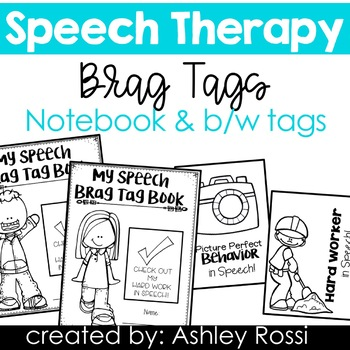 Black & White Brag Tags and Journaling Notebook for Speech Therapy