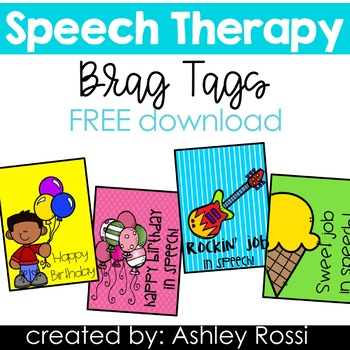Speech Therapy Brag Tags FREEBIE