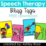 Speech Therapy Brag Tags FREE