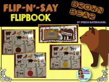Speech Therapy Brown Bear Flipbook booklet Autism I see a..