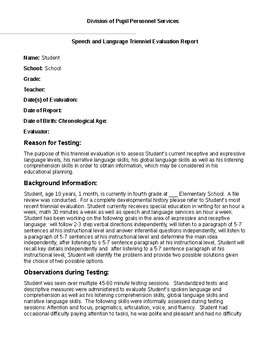 Speech Therapy-CELF-5 (5-8) Comprehensive Evaluation Report Template