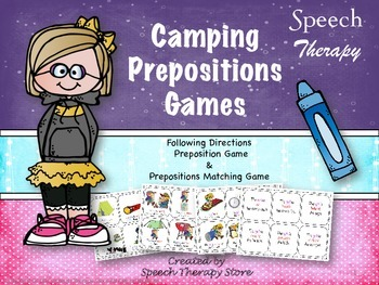 Speech Therapy Camping Preposition Games