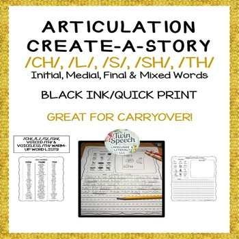 Speech Therapy Carryover: CREATE-A-STORY FOR /CH/, /L/, /S