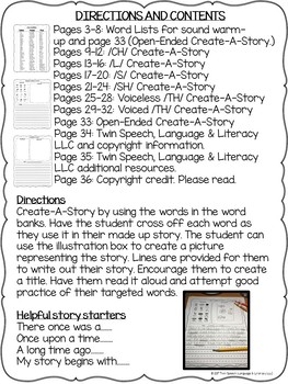 Speech Therapy Carryover: CREATE-A-STORY FOR /CH/, /L/, /S/, /SH/, & /TH/ Words