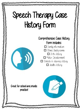 Speech Therapy Case History Form