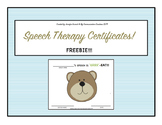 Speech Therapy Certificate FREEBIE!!! {End of Block/End of Year}