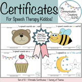 Speech Therapy Certificates! (10-Pack) {End of Block/End of Year}