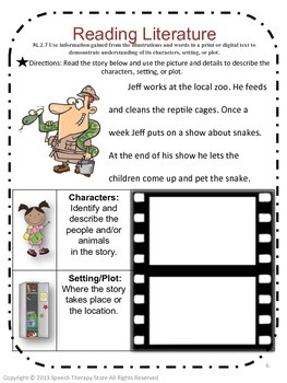Speech Therapy Common Core Activities for 2nd Grade