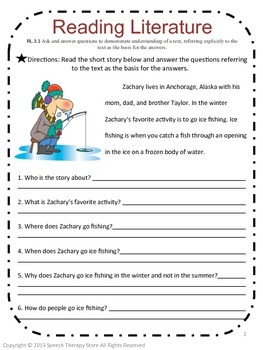 Speech Therapy Common Core Activities for 3rd Grade