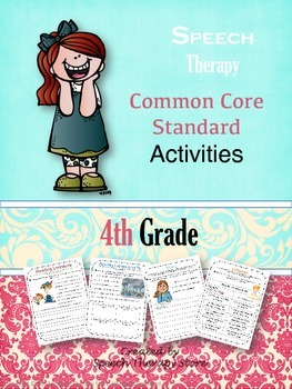 Speech Therapy Common Core Activities for 4th Grade