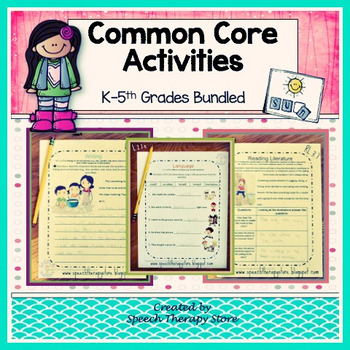 Speech Therapy Common Core Activities for K-5th Grades Bundled