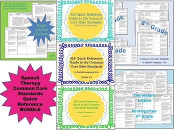 Speech Therapy Common Core Standards Quick Reference Bundle