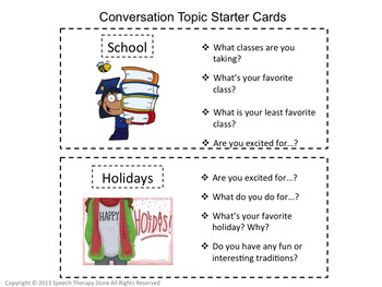 Speech Therapy Communication Topic Starters for Life Skills High School Students