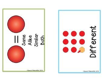 Speech Therapy Compare Contrast Same Different Venn & icon attributes VISUAL