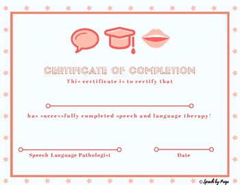 speech therapy certificate of completion  Speech Therapy Completion Certificate- FREE by Speech by Paige | TpT