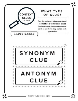 Context Clues 1st Grade Level Vocabulary Words for Speech Therapy