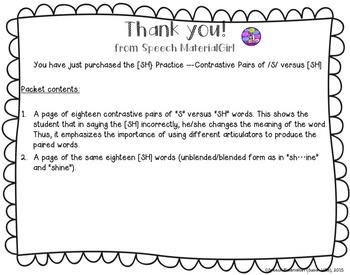 Speech Therapy Contrastive Minimal Pairs [SH] vs /S/ no-prep & mini flash cards