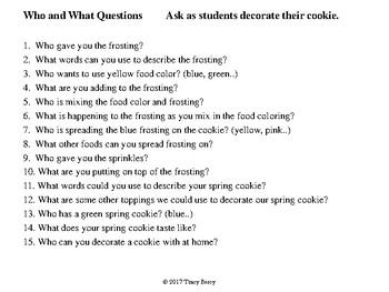 5 Step Sequence, Who and What Questions:  Frosted Spring Cookies