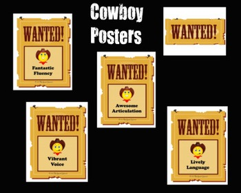 Speech Therapy Cowboy Themed Classroom Posters