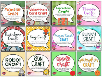 Speech Therapy Crafts for Mixed Groups (A Growing Bundle)