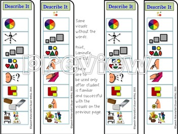 Speech Therapy DESCRIBE IT Visual prompt for attributes describing support