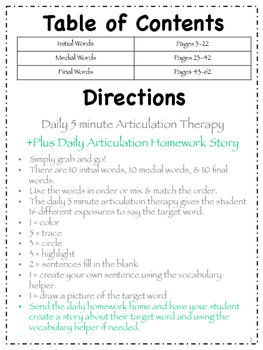 Speech Therapy Daily Articulation R January