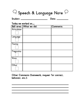 Speech Therapy Daily/Weekly Parent Communication in Englis