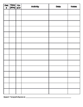 Speech Therapy Data Form
