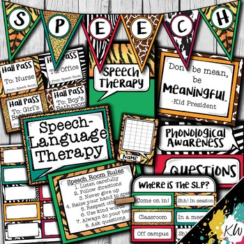 Speech Therapy Decor: Animal Print Speech Room Decor made just for SLPs!
