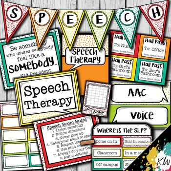 Speech Therapy Decor: Bright Confetti Speech Room Decor made just for SLPs!