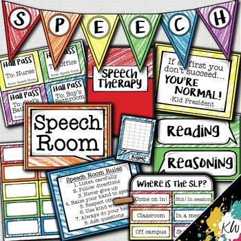 Speech Therapy Decor: Crayon Scribbles Speech Room Decor made just for SLPs!