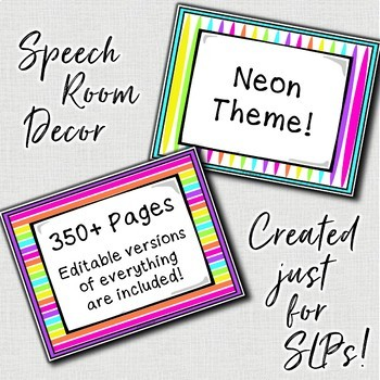 Speech Therapy Decor: Neon Speech Room Decor made just for SLPs!