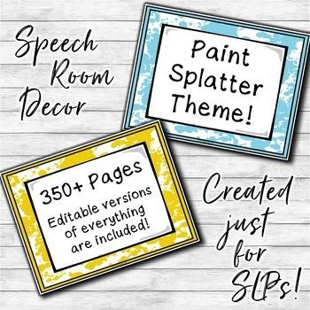 Speech Therapy Decor: Paint Splatter Speech Room Decor made just for SLPs!