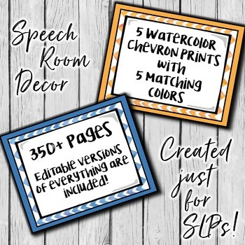 Speech Therapy Decor: Watercolor Chevron Speech Room Decor made just for SLPs!