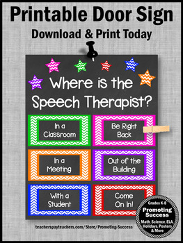 Speech Therapy Decor, Where is the Speech Therapist Door Sign, NOT Editable