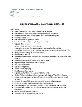 Speech Therapy-Developmental Milestones List  Parent Handout