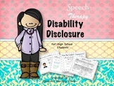 Speech Therapy Disability Disclosure for High School Students