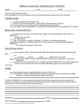 Speech Therapy Dismissal or Exit Criteria Document
