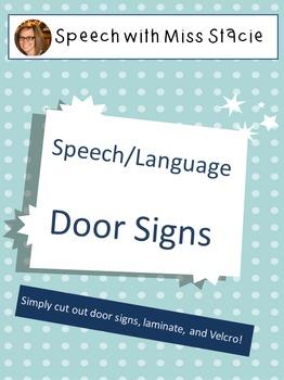 Speech Therapy Door Signs