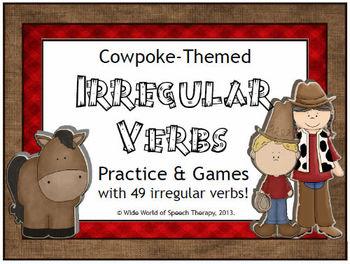 Irregular Past Tense Verbs Cowboy Set - Speech Therapy - ELA - ELL