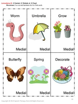 Speech Therapy Easter Articulation R Games