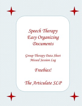 Speech Therapy  Easy Organizing Documents-Data Collection Freebies!