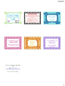Speech Therapy End of the Year Gift Tags!