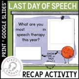End of the Year Speech Therapy Activity No Print Last Day