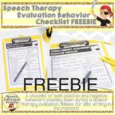 Speech Therapy Evaluation Behavior Checklist FREEBIE