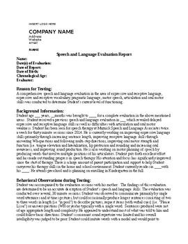 Speech Therapy Evaluation Report (non-school setting)